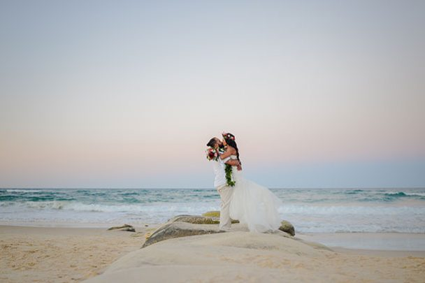 Sunshine Coast Beach wedding photographer sunset bride and groom